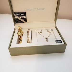 Cote d'Azur Gold watch bracelet necklace earrings